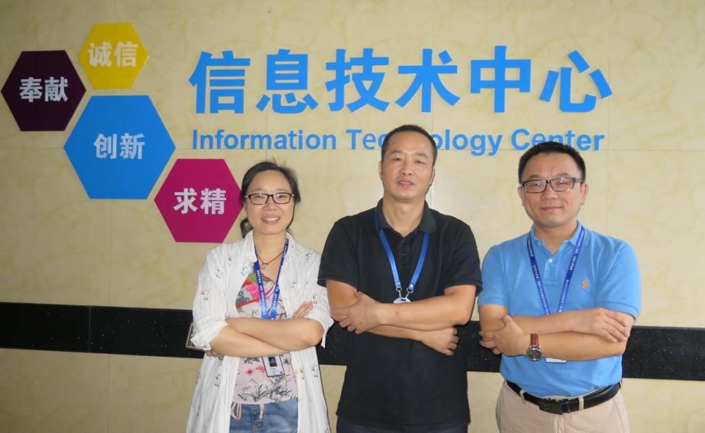 左起:温医二院信息中心徐苗桑副主任、李建宏主任、黄戈靖主任助理。
